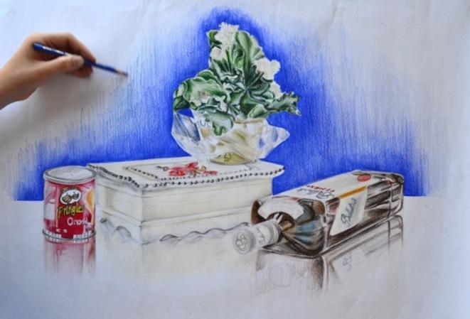 Kurukalem boya tekniğiyle yapılmış obje ve kompozisyon